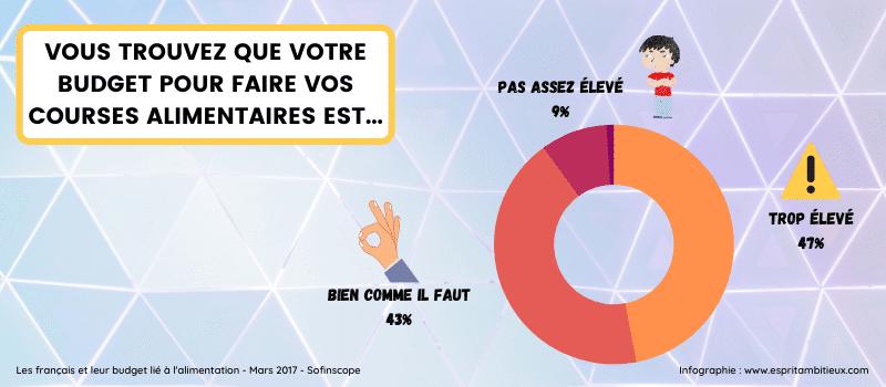 Infographie - opinions français sur le budget de leur courses